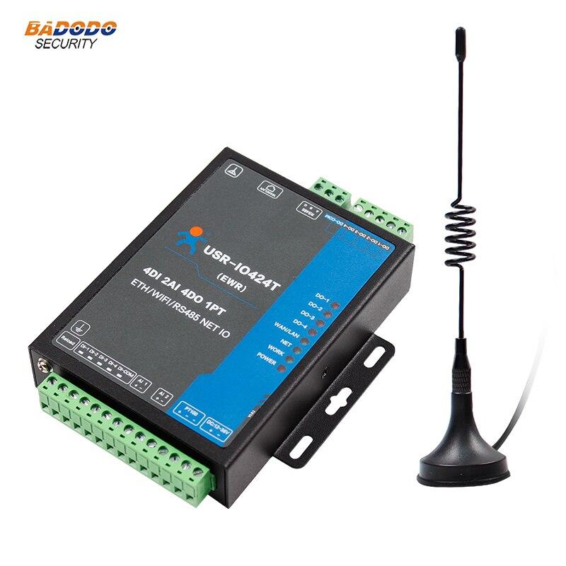 USR IO424T EWR 4 way network IO controller 4 DI 2 AI 4 DO 4 relay