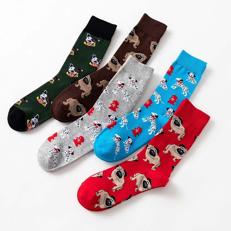 New Men's Socks Colorful Autumn Dog Sock In Tube Socquette Casual Cotton Socks EU41-46 Comfortable Meias Elastic Soxs Soft  SA-8