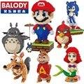 Balody mini mario diy juguetes de construcción de bloques de gran tamaño grande de una sola pieza ladrillos subasta lindo juguetes para niños juguetes 16001-16009