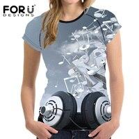 FORUDESIGNS DJ Music Headphone 3D Printing Women T Shirt Harajuku Hip Hop Style Tops Tee Female
