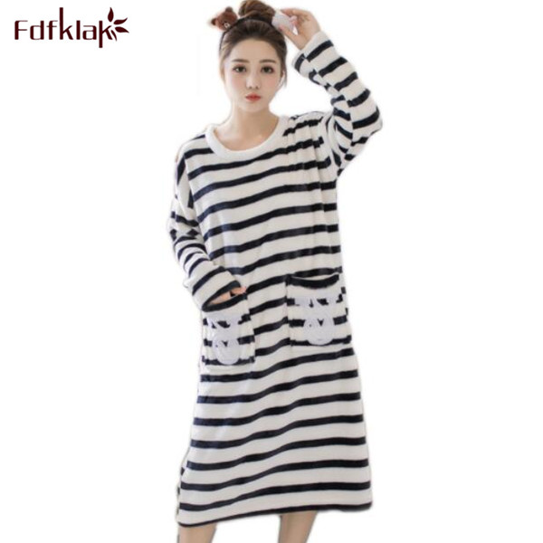 Fdfklak Autumn Winter Flannel Long Sleeve Nightgown Night Dress Women Sleeping Clothes Nightdress Cotton Gray/Pink Striped Q477 pregnant women long nightdress women sleep nightshirt winter flannel thickening long nightgown maternity