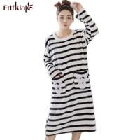 Fdfklak Mùa Thu Mùa Đông Flannel Long Sleeve Áo Ngủ Đêm Ăn Mặc Phụ Nữ Ngủ Quần Áo Nightdress Cotton Màu Xám/Hồng Sọc Q477