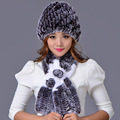 Natural Rex Rabbit Fur Hat Scarf Set With Flower For Women Fashion Winter Handmade Warmfur Real Fur Cap Muffler