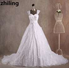 Elegant Lace Ball Gown Wedding Dresses Organza Ruffles Chapel Train Bridal Wedding Gown Bride Dress Custom Size Color