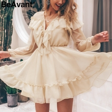 BeAvant Elegant ruffle victoria short party dress women V neck sexy mesh summer dress vintage Long sleeve pleated ladies dresses