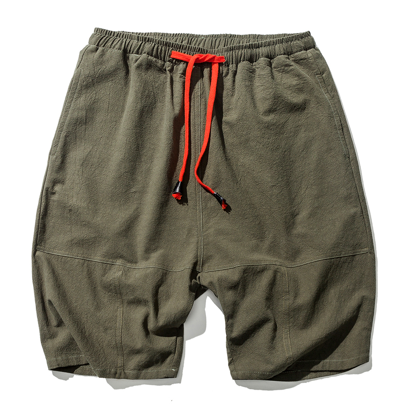 2020 Summer Style Men Cotton Linen Shorts Bloomers Men Loose Linen Harem Shorts Streetwear Shorts ABZ398