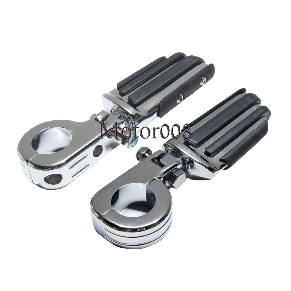 Chrome Motorcycle 1 1 2 1 5 38mm highway Crash Bar Footrest Pedal Foot Pegs Footpeg