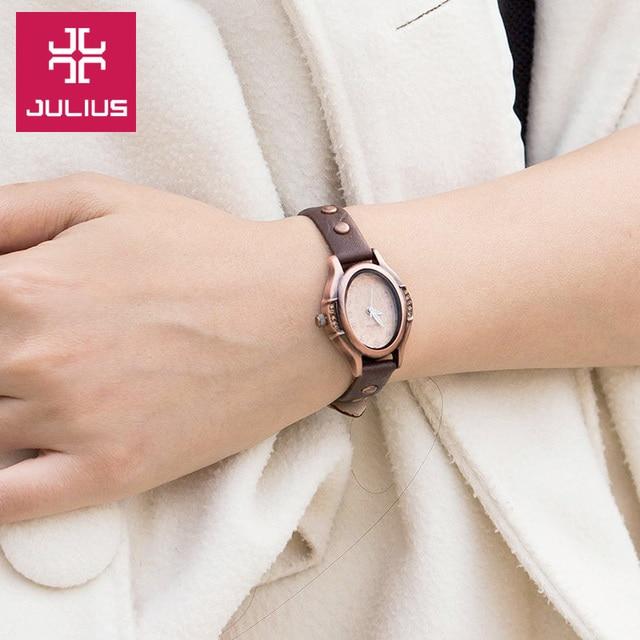 Küçük bayan kadın izle japonya kuvars saatler güzel moda bilezik hakiki deri Retro saat kızın doğum günü hediyesi Julius