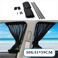 2 x Update 50S 51*39cm Car Styling Adjustable Vehicles Elastic Auto Car Side Window Sunshade Curtain Black/Beige/Gray