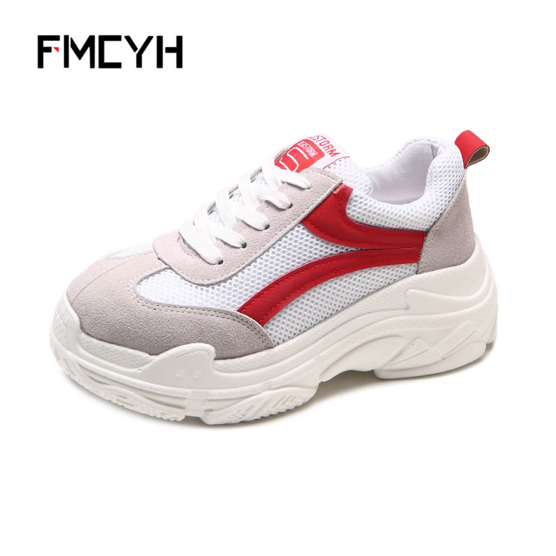 FMCYH Women Shoes Casual 2018 Spring Ladies Wedges Platform Sneakers Fashion Lace Up Footwear Trainers Female Woman Mesh Shoes