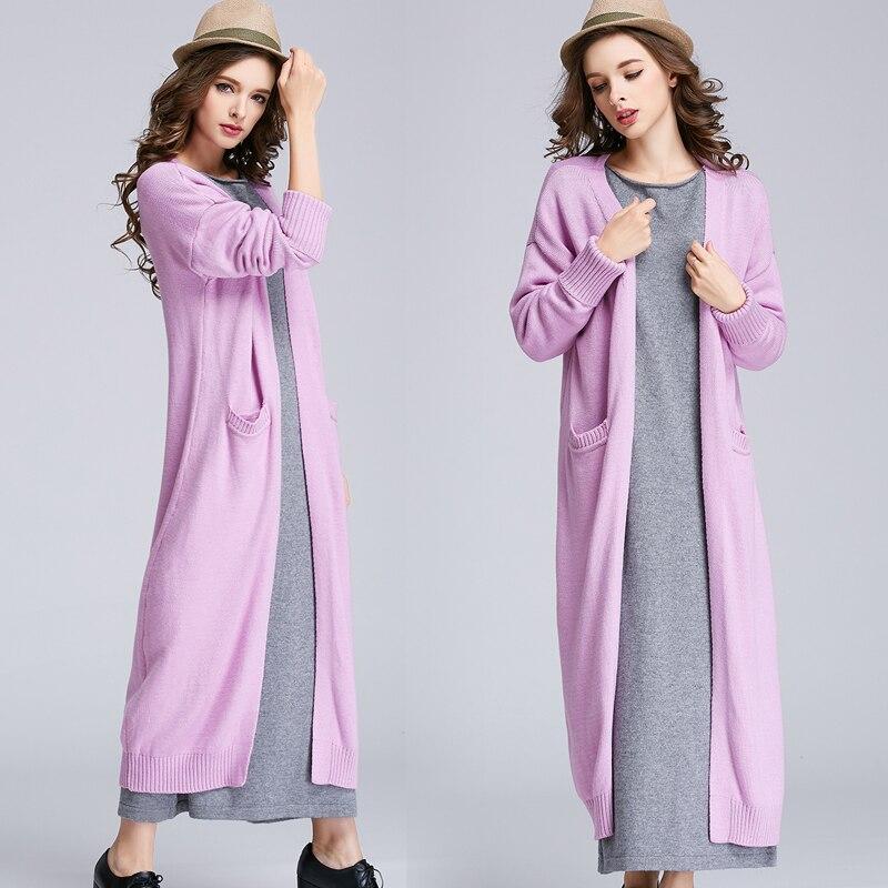Spéciaux coton laine mélange tricot femmes mode super long cardigan chandail manteau S-XXL 5 couleurs