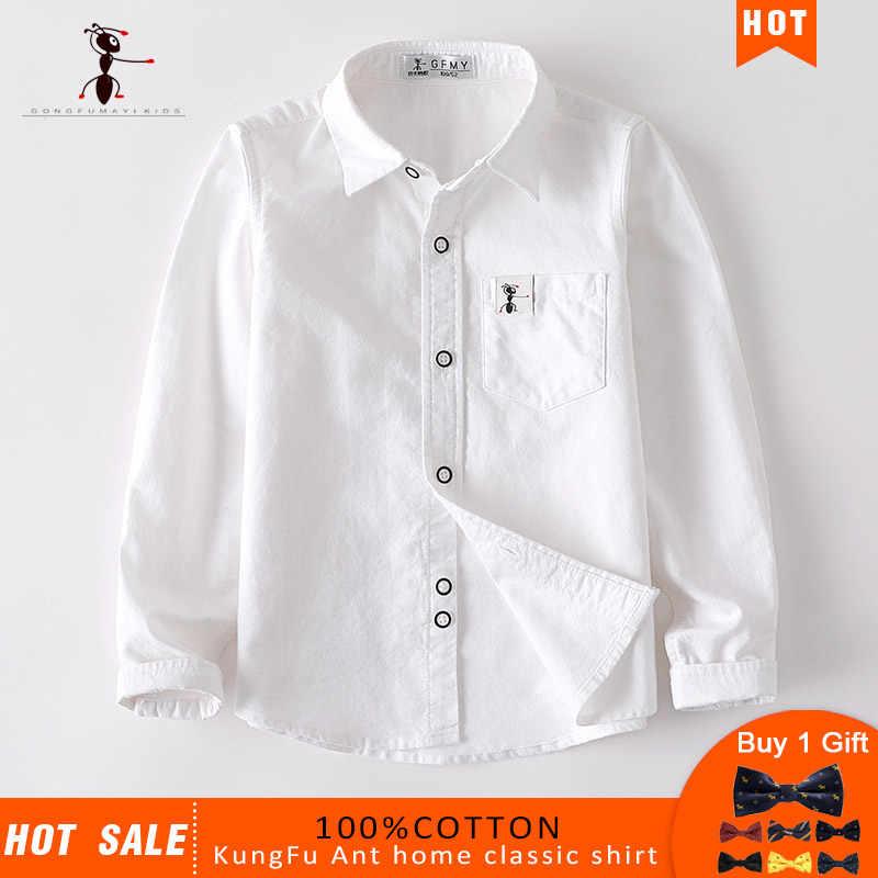 2019 Kung Fu Ant Merk Originele Hot Koop Hoge Kwaliteit Jongens Shirts 12 Stijlen 100% Katoen kinderen shirt Geven een Kleine Gift