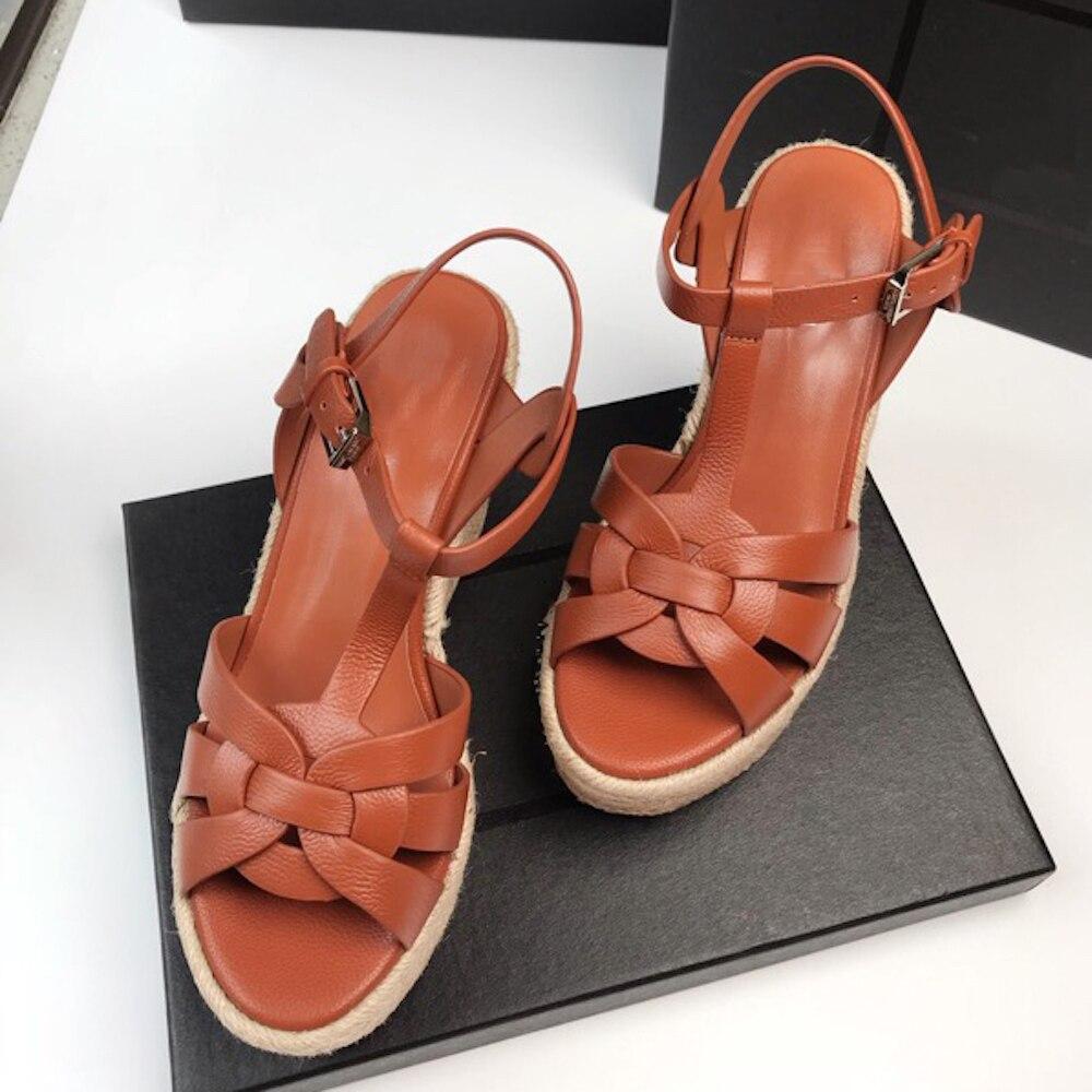 Ayakk.'ten Yüksek Topuklular'de Kadın Sandalet Ayak Bileği kayışı Hakiki Deri Bayan parti ayakkabıları Strappy Süper Yüksek Topuklu Plaj Tatilleri kadın Kama Sandalet'da  Grup 1