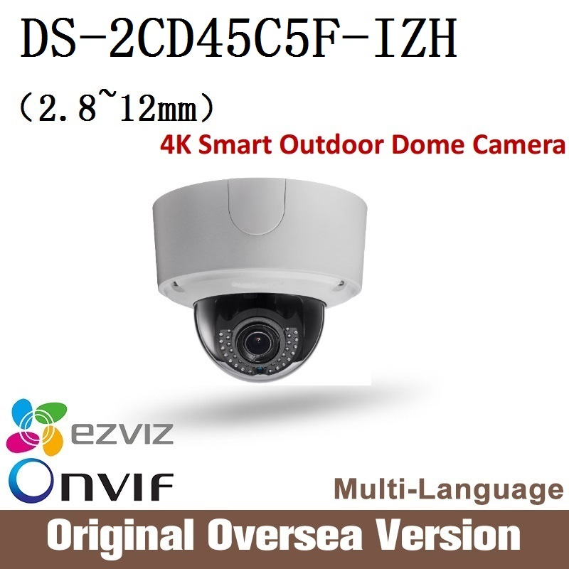 HIKVISION DS-2CD45C5F-IZH 2.8-12mm Ip 12MP dome Camera Onvif RJ45 upgrade support English Version 4K Smart Outdoor Dome Camera hikvision ds 2de7230iw ae english version 2mp 1080p ip camera ptz camera 4 3mm 129mm 30x zoom support ezviz ip66 outdoor poe