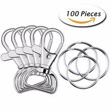 100 шт металлический поворотный карабин на шнурке с кольцами