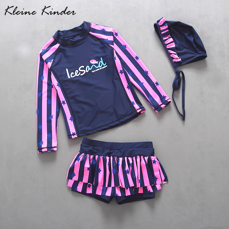 Professional Brand Child Swimwear Two Pieces Long Sleeve Rashguard + Swimming Trunks For Girls Sun Protection Beach Bathing Suit