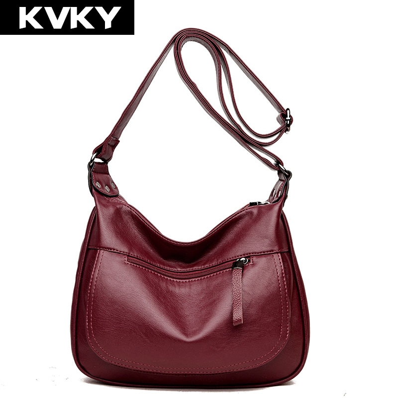 KVKY Brand Women Messenger Bag Soft PU Leather Shoulder Bag Fashion Small Casual Female Tote Women Crossbody Bag Ladies Handbags 2018 new female bag korean version of the striped shoulder messenger bag small fashion handbags ladies wrist bag