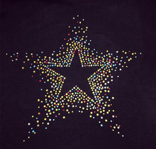 FS(2pc/lot) Colorful star stickers flatback iron on transfer patches hot fix rhinestone motifs fixing rhinestones