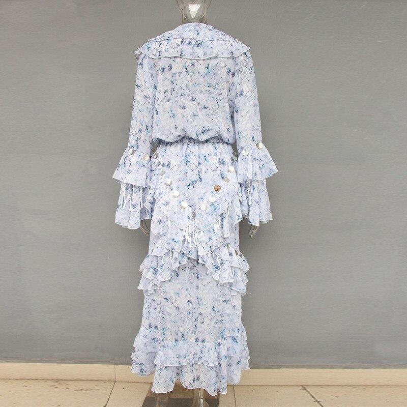 High Fashion Fairy Mosaic Long Dress Spring V-neck Sequined Ruffle Dress Casual Flower Floral Chiffon Maxi Dress (5)