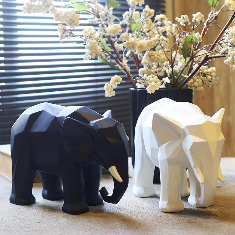 Creative Abstract Elephant Statue Resin Decorations Home Decor Accessories Gift Geometric Resin Elephant Sculpture Animal Crafts Statues Sculptures Aliexpress