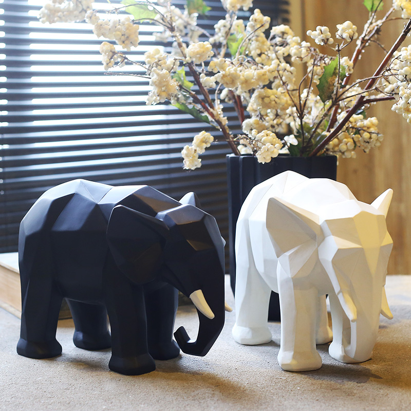 Creative Abstract Elephant Statue Resin Decorations Home Decor Accessories Gift Geometric Resin Elephant Sculpture/Animal Crafts