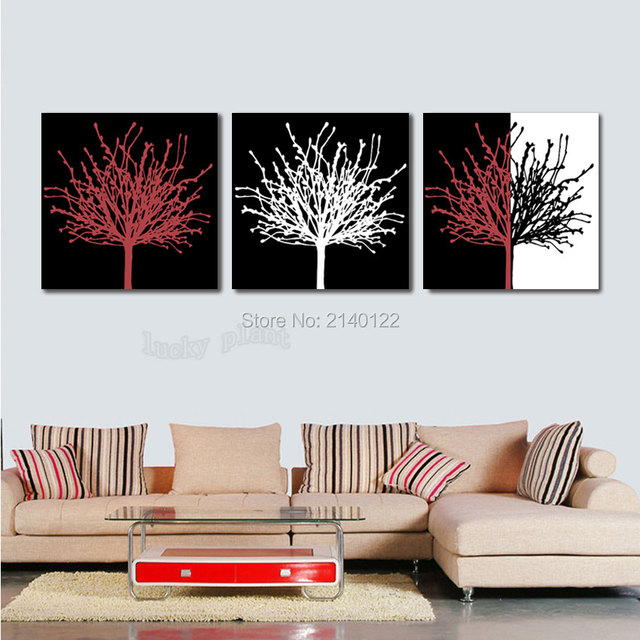 Hot Abstract Drawing 3pcs Framed Modern Art Trees New Canvas HD ...