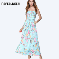 Refeeldeer Women Summer Sundress 2017 Long Maxi Beach Summer Dress Women Off Shoulder Strapless Tunic Boho