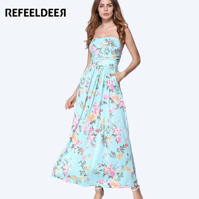 Refeeldeer женщин летний сарафан 2017 длинное пляжное летнее платье женщин...