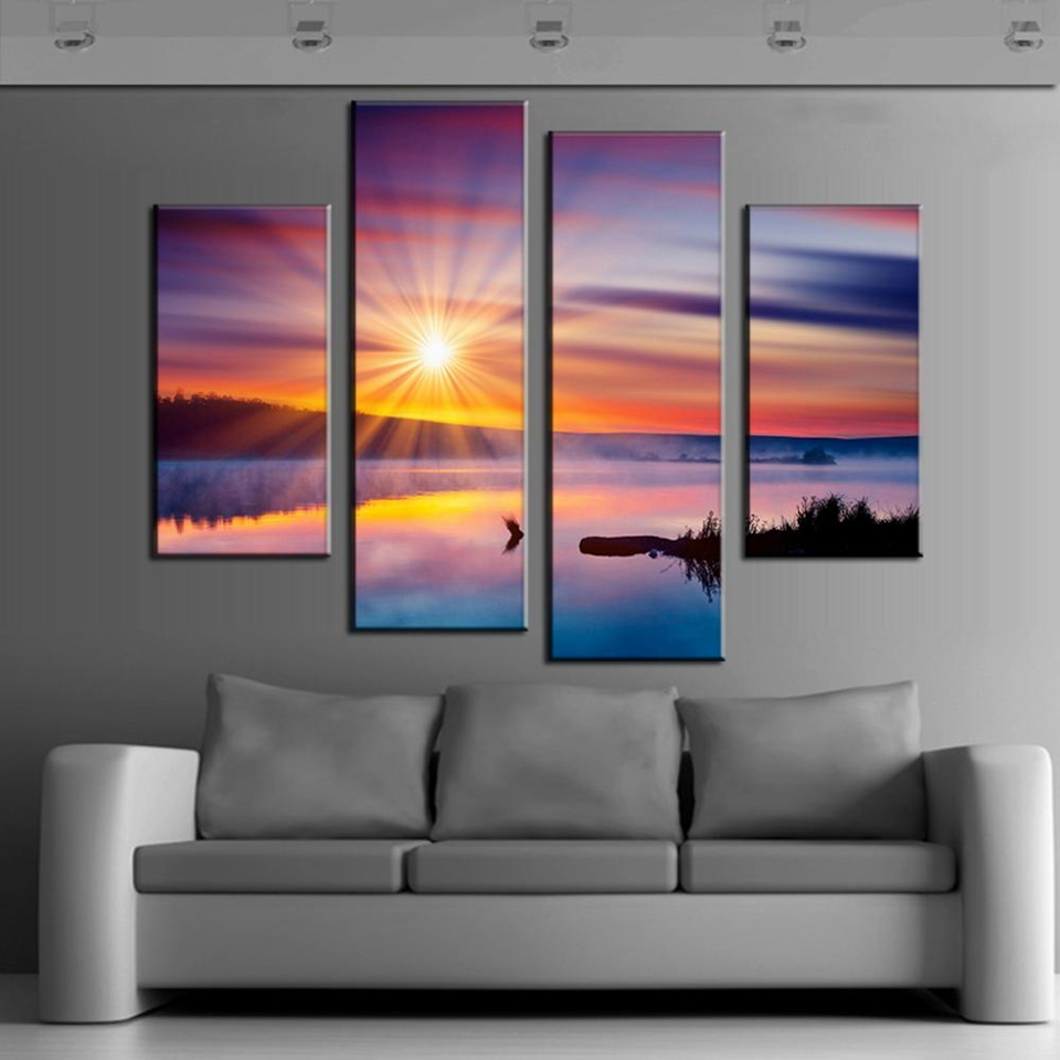Modern Canvas Painting Frame HD Printed Wall Art Pictures 4 Pieces Colorful Sunset Glare ...