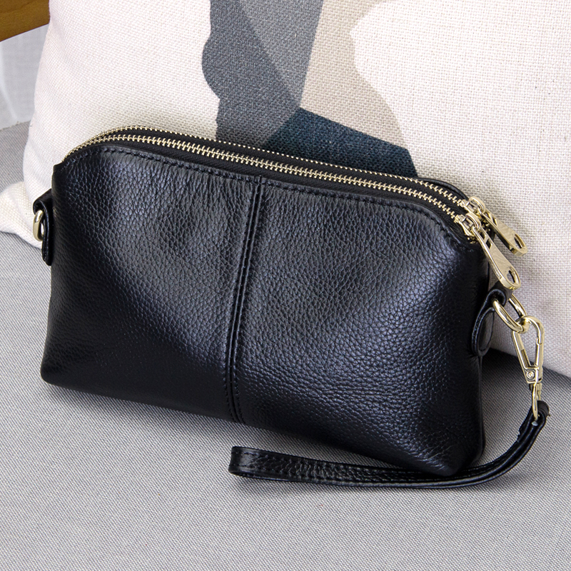 100% Genuine Leather High Quality Clutch Bag Style Fashion  Trend Women Handbag Messenger Bag Dual Purpose Leisure Bag #38177