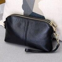 100% Genuine Leather High Quality Clutch bag style Fashion trend Women Handbag messenger bag Dual purpose Leisure bag #38177