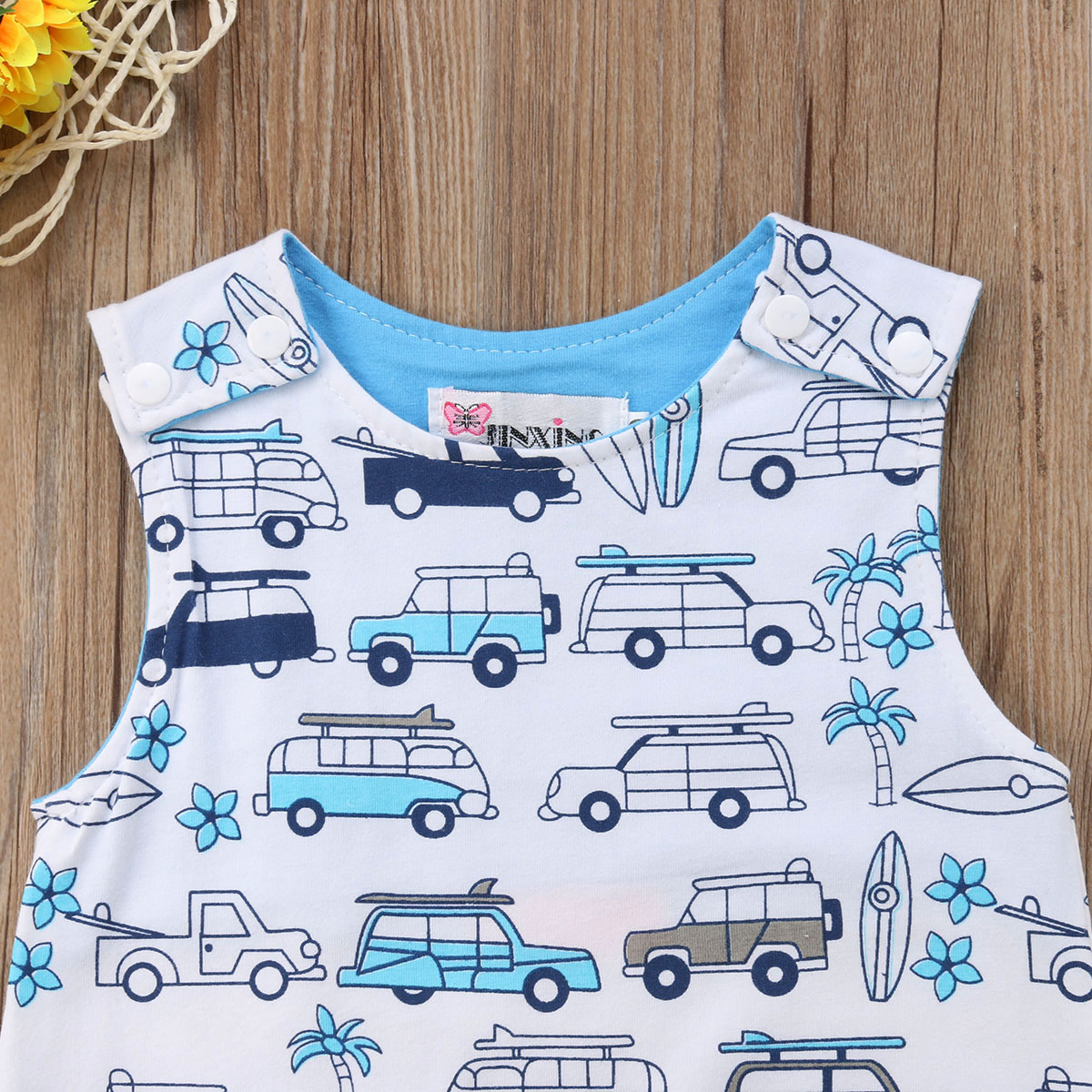 Cartoon School Bus Sleeveless Bodysuits Rompers Outfits