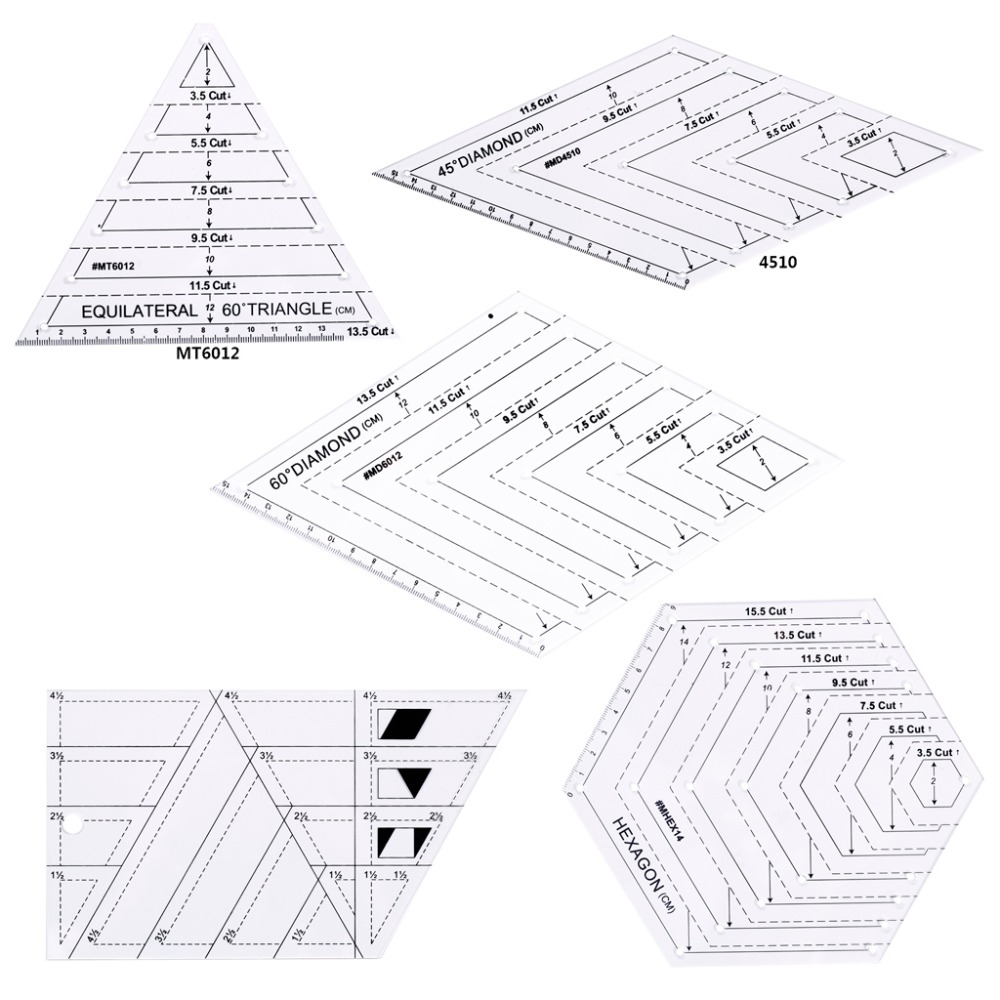 5Pcs/Set Quilting Sewing Patchwork Craft Scale Ruler Triangle DIY Handmade Tailor Home Tools5Pcs/Set Quilting Sewing Patchwork Craft Scale Ruler Triangle DIY Handmade Tailor Home Tools