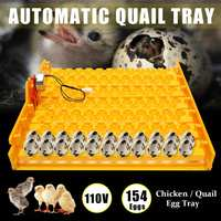 110V Automatic Incubator 154 Quail Eggs Tray Turner Chicken Hatch Poultry Bird For Farm Animals Hatcher Incubation Tools Supplie