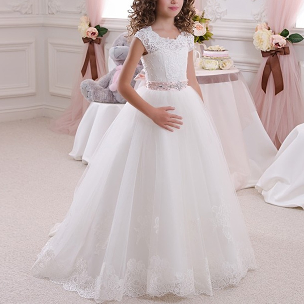 Elegant Girls Dress for Baby Kid Wedding Party Bridesmaid Princess Dress Lace Flower Embroidered Ball Gown Pleated Long Dress