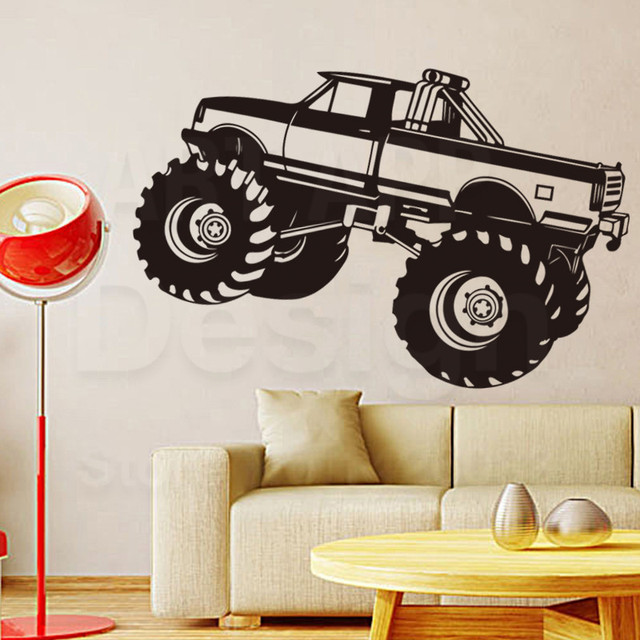 Art design home decoration vinyl big truck wall sticker removable colorful house decor pvc off