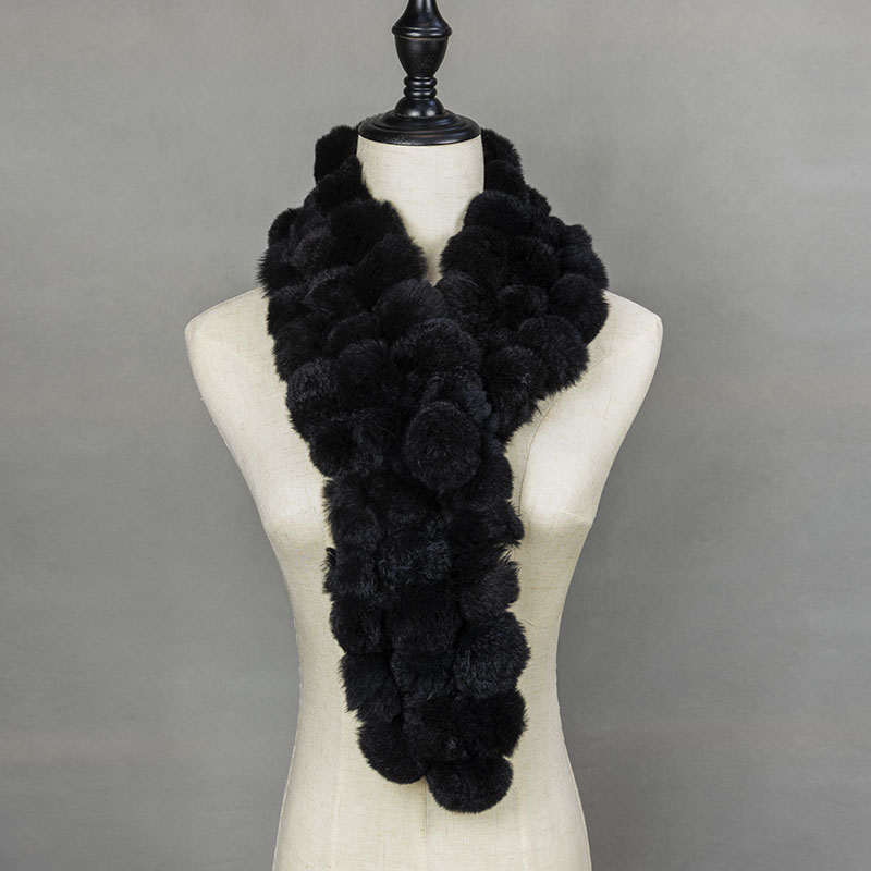 2018 Winter Real Fur Ball Scarf Women Real Fur Pom Pom Scarf Fashionable Warm Womens Scarfs Gray Ladies Scarves Natural Fur