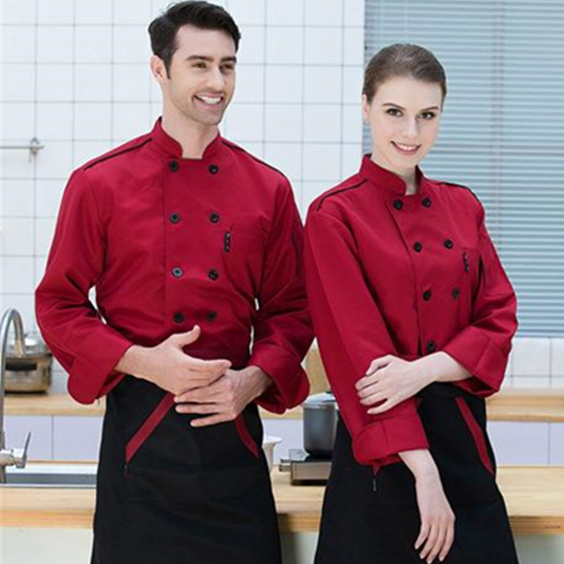 Summer Food Service Chef's Wear Long-Sleeve Hotel Workwear Chef Uniform Cook Wear Double-breasted  Kitchen Clothing