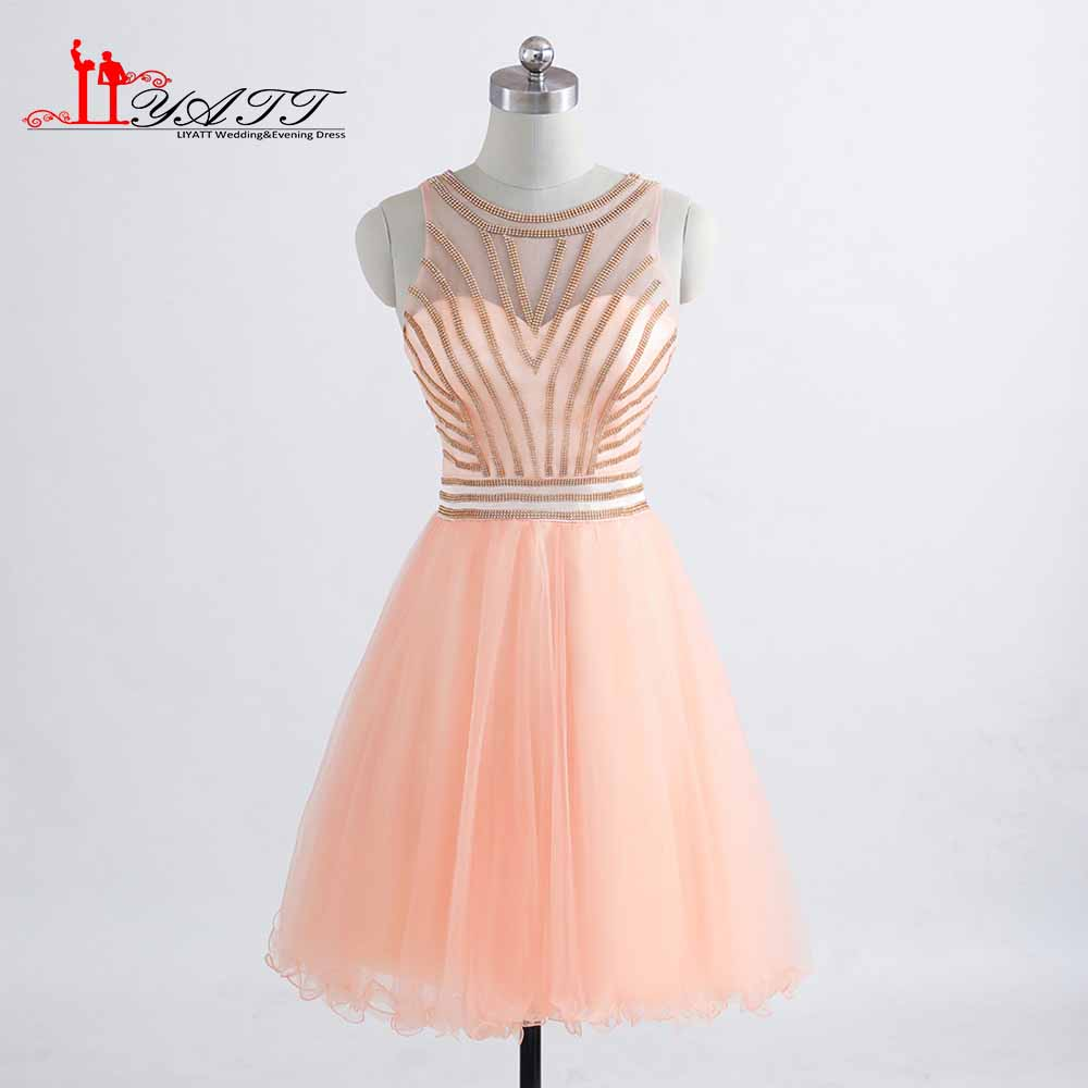 Vestidos De Festa Custom Made See Through Mini   Cocktail     Dresses   Crystal Beading Prom Party Gowns