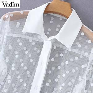 Image 4 - Vadim women stylish polka dot patchwork transparent midi shirt dress long sleeve female chic sexy mesh dresses vestidos QB670