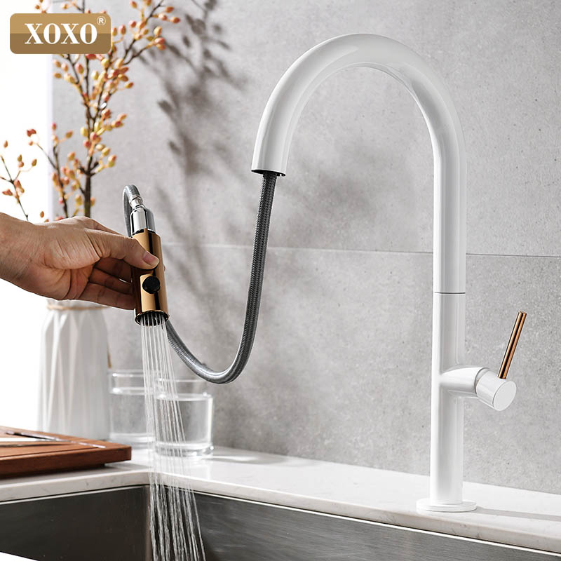 Kitchen faucet Pull Out Cold and Hot mixer tap White water Single Holder Single Hole faucet kitchen sink faucet 1345