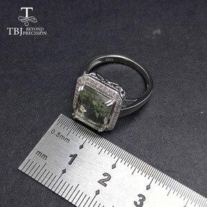 Image 3 - TBJ bague classique pour femmes, bague classique avec améthyste vert naturel oct 9*11mm, en argent sterling 925, bijou fin avec boîte