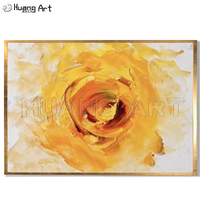 Low Price Abstract Oil Painting on Canvas for Living Room Wall Decor 100% Hand Painted Modern Knife Yellow Rose Wall Painting
