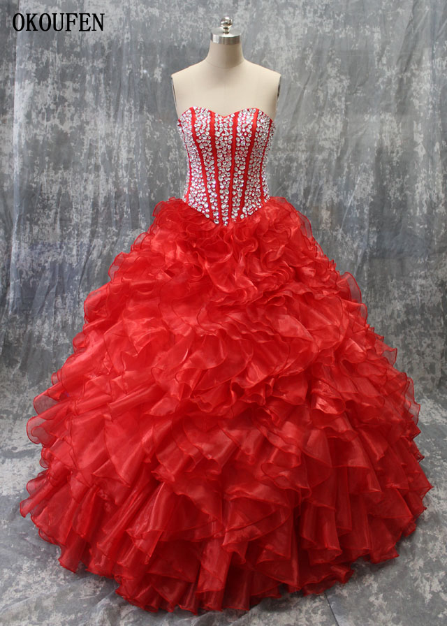 Robes Quinceanera 2019 robe de bal rouge cristaux d'argent vraies Photos volants vestido de 15 anos debutante douce 16 robe ballkleid