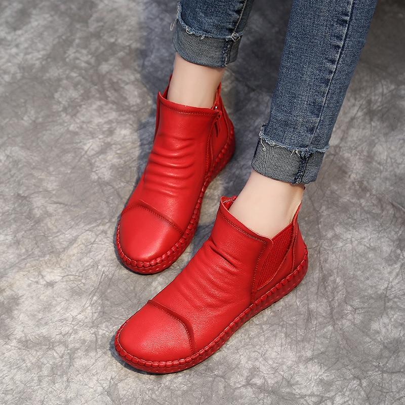 DONGNANFENG ใหม่ผู้หญิงแม่หญิงสุภาพสตรีรองเท้าหนังวัวแท้ Casual Slip บน Pigskin อ่อนขนาด 35 40 XY 2-ใน รองเท้าบูทหุ้มข้อ จาก รองเท้า บน   3