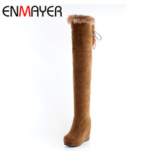 ENMAYER High Heels Shoes Woman Over-the-knee Boots Black Red Yellow Platform Womens Winter Shoe