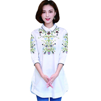 Chemise Femme White Cotton Shirts Peter Pan Collar Women Tops Camisas Mujer Embroidery Three Quarter Sleeve