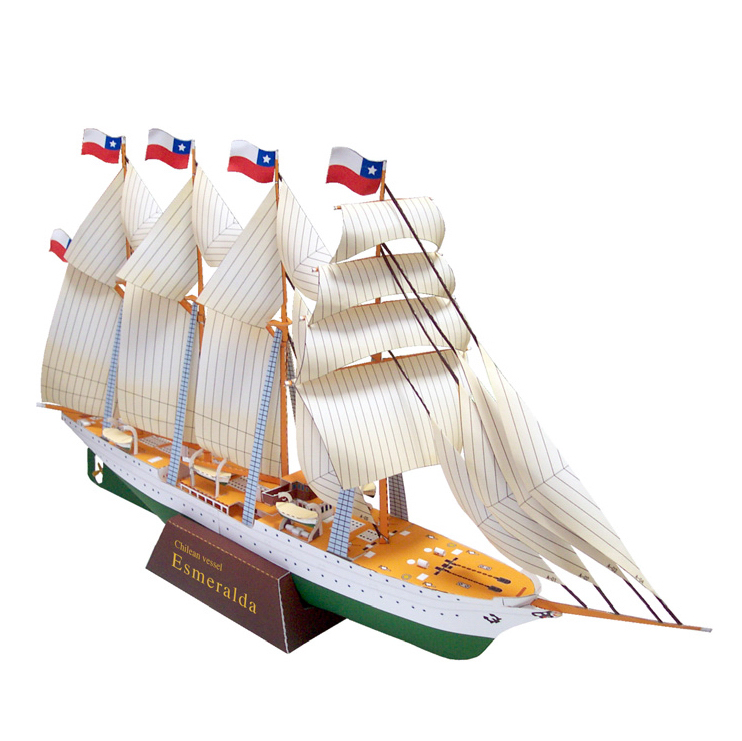 Sailship  Esmeralda  Ship Boat Paper Model Assemble Hand Work Puzzle Game DIY Kids Toy