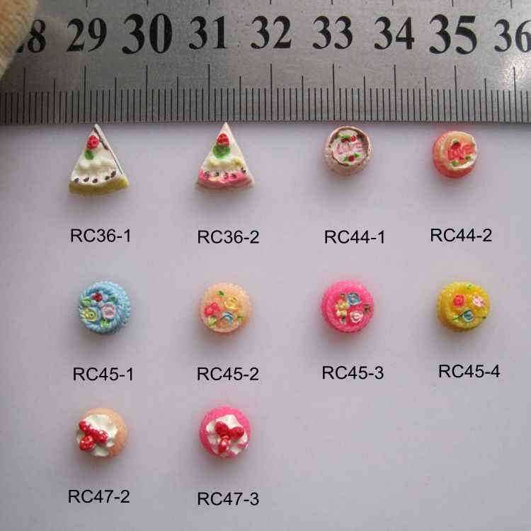 RC36-47 30pcs/bag Cartoon Sandwich Strawberry Cake Resin Cartoon Deco Nail Art Decoration Nail DIY Deco