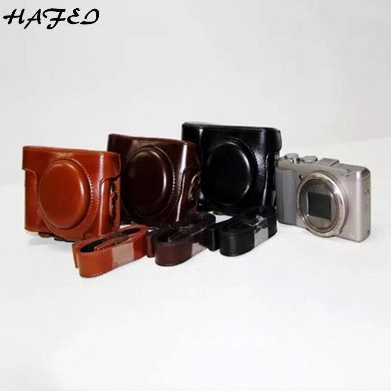 HAFEI Hot PU LEATHER Camera Case Capa Bag Para Sony Cyber shot-DSC-HX60 DSC-HX50V HX50V HX30 DSC HX60 Nenhum Logotipo Marrom Café Preto